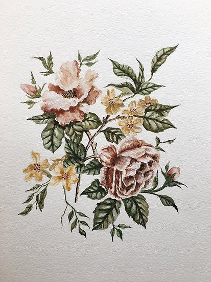 Wildflower Bouquet Original Watercolor Painting — 9x12