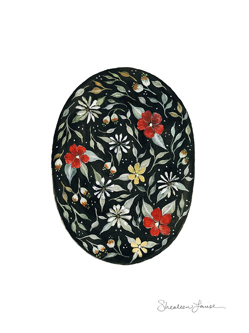 Southwestern Florals Oval - Gouache & Watercolor Painting — Print
