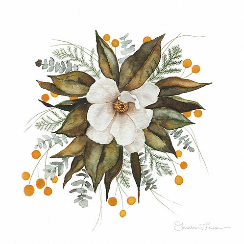 Magnolia Bouquet Watercolor Painting — Print