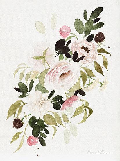 Romantic Loose Rose Bouquet Watercolor Painting — Print