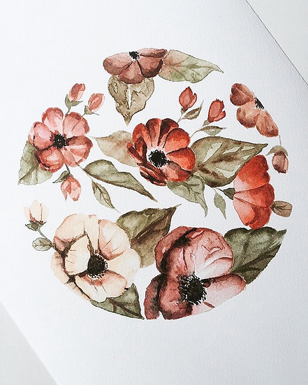 Circular Pink Floral Watercolor Painting — Print