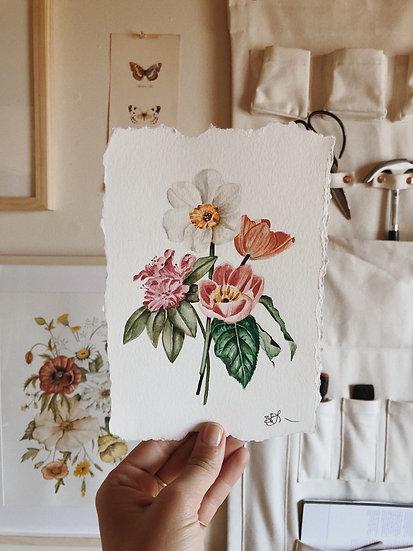 Spring Florals Original Watercolor Painting — 5.5x7.5