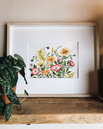 Summer Florals Original Watercolor Painting — 9x12