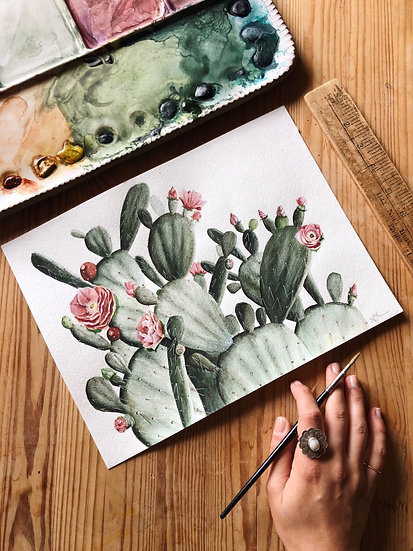 Prickly Pear Cacti Original Painting — 9x12
