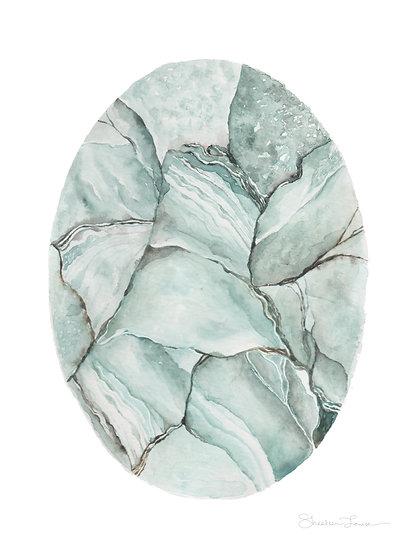 Aquamarine Stone Watercolor Painting — Print