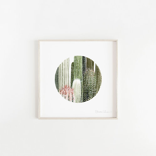 Circular Cacti Watercolor Painting — Print
