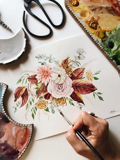 Foraged Florals Bouquet Original Watercolor Painting — 9x12