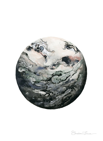 Dark Geode Watercolor Painting — Print