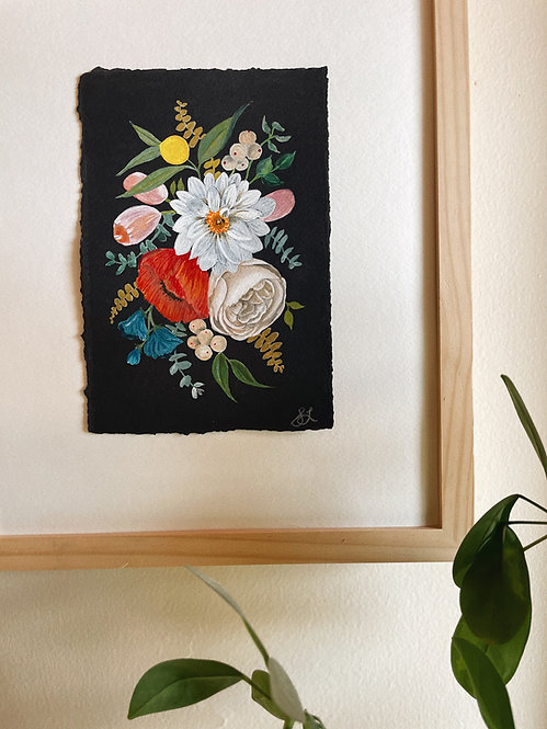 """Colorful Florals "" — 6 x 8.5  inches, Original"