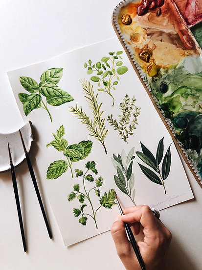 Herb Pieces Original Watercolor Painting — 9x12