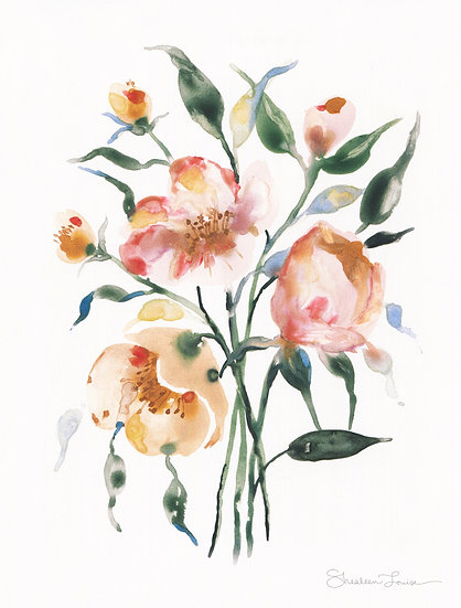 Loose Florals on Yupo Watercolor Painting — Print