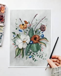 Moody Magnolia Painting