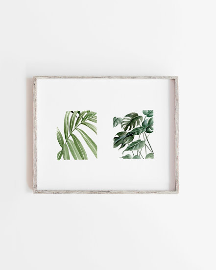 Greenery Squares Watercolor Painting — Print