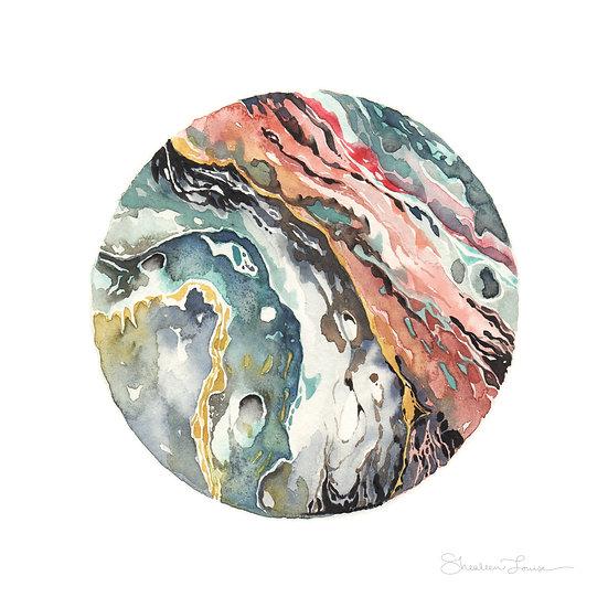 Moody Circular Geode Watercolor Painting — Print