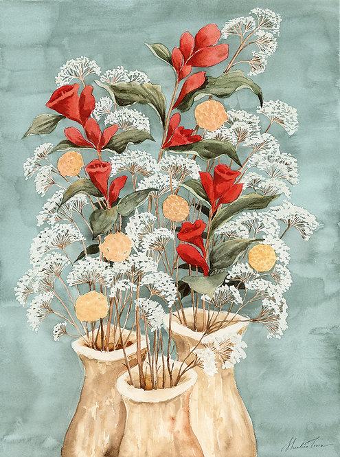 Three Floral Vases Watercolor Painting — Print