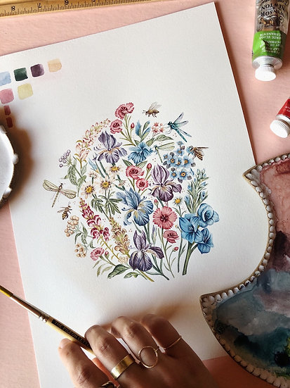 Insects and Florals Original Artwork — 9x12