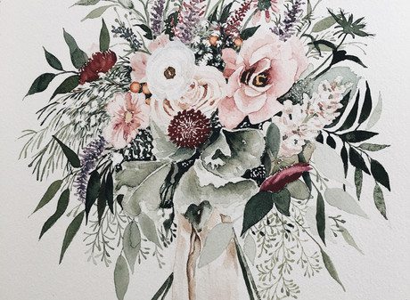Gorgeous Wedding Bouquet Painting Timelapse — 5 Hours in One Minute