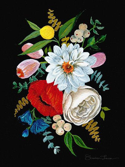 Colorful Gouache Bouquet on Black — Print