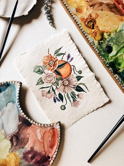 Citrus Bouquet Original Watercolor Painting on Handmade Paper — 5x7