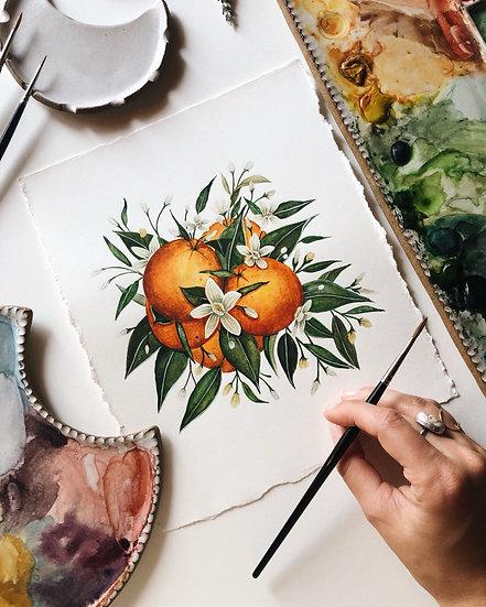 Orange Blossom Original Watercolor Painting w/ deckled edges — 8x9