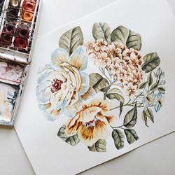 Circular Floral Painting