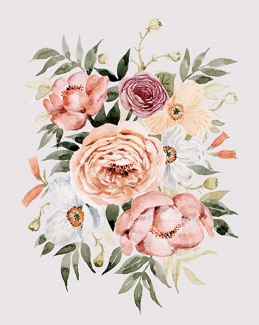 Muted Peonies and Poppies Watercolor — Print