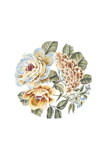 Circular Floral Watercolor Painting — Print
