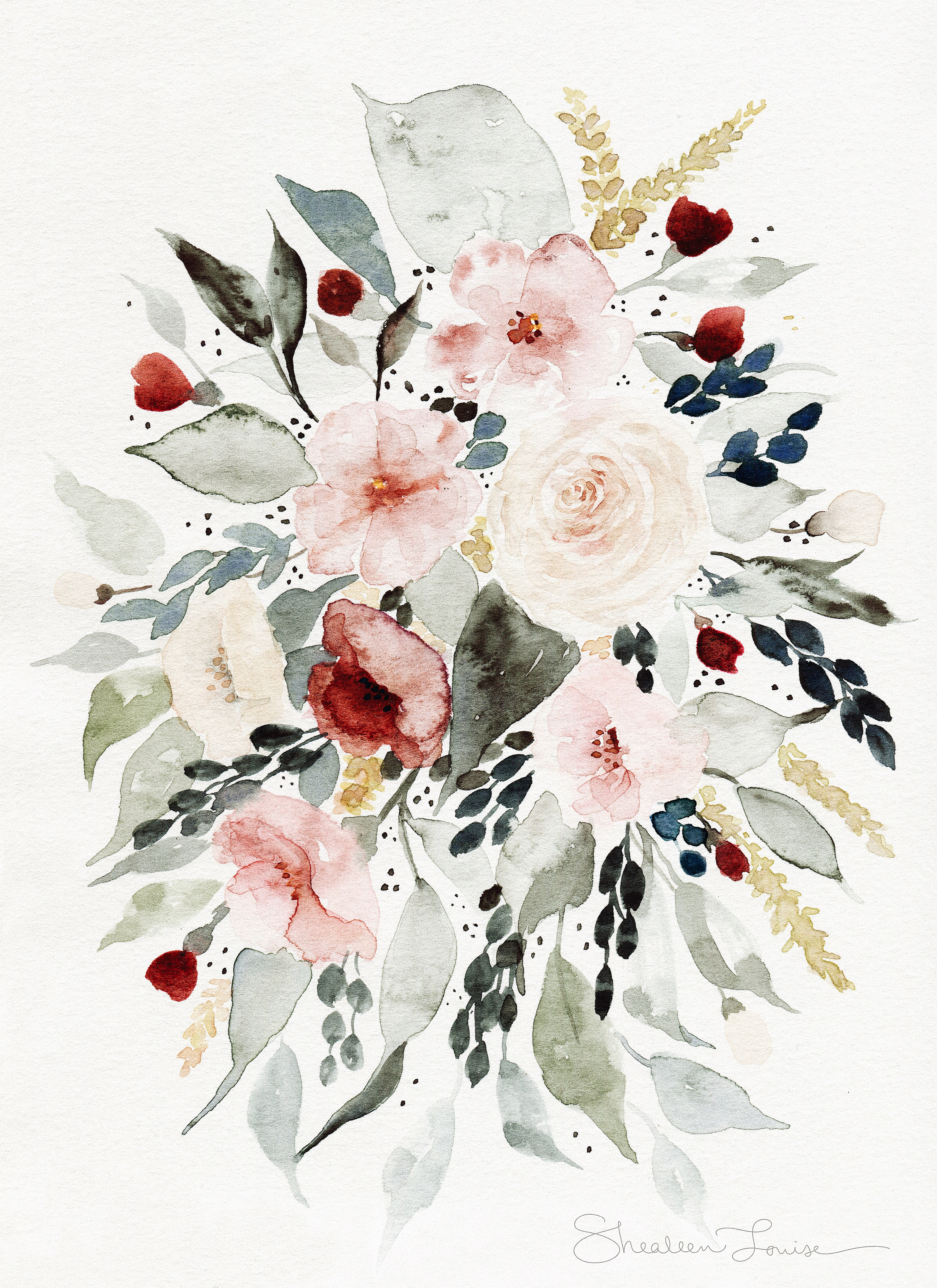 Loose Floral Bouquet Watercolor Painting Print Shealeenlouise