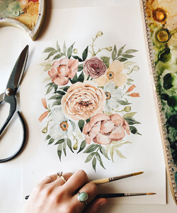 Muted Peonies and Poppies Watercolor Painting