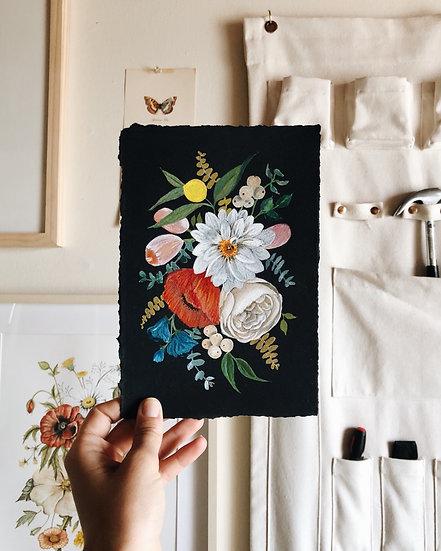 Gouache Florals Original Artwork on Black Watercolor Paper — 6x9