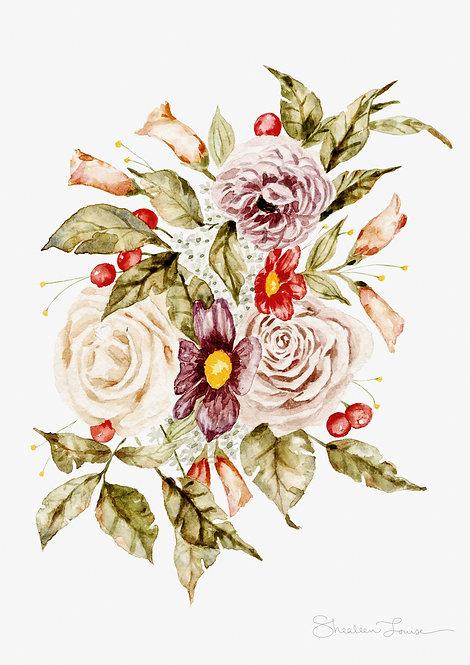 Roses and Berries Watercolor — Print