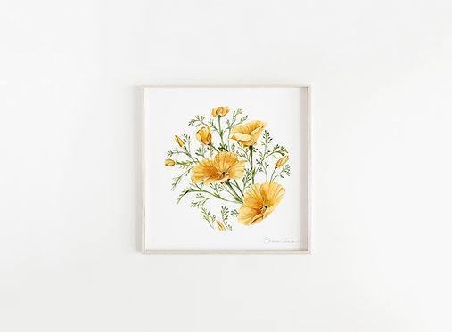 California Poppies Watercolor Painting — Print