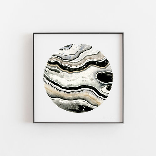 Muted Geode Watercolor Painting — Print