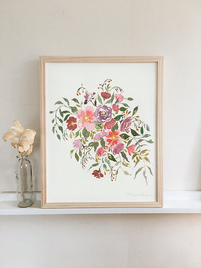 Loose Pink & Purple Florals Watercolor Painting — Print