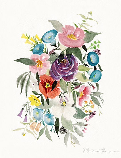 Wild and Free Loose Bouquet Watercolor Painting — Print