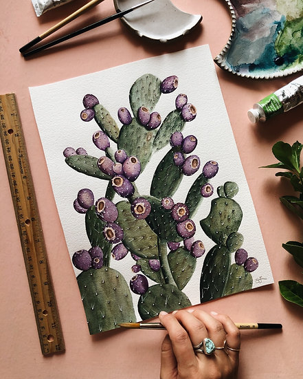 Prickly Pear Cactus Original Watercolor Painting — 9x12