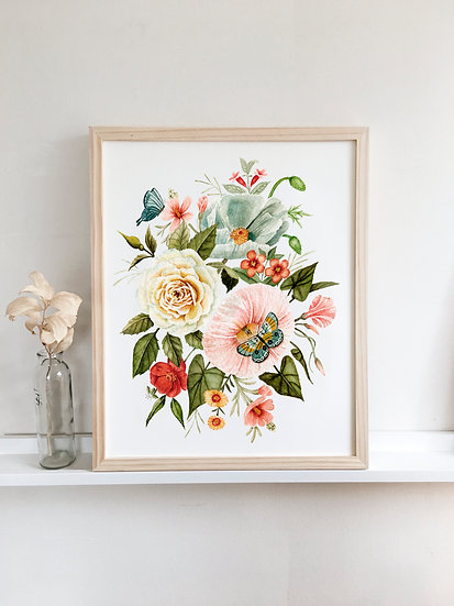 Wildflowers and Butterflies Bouquet — Watercolor Painting Print