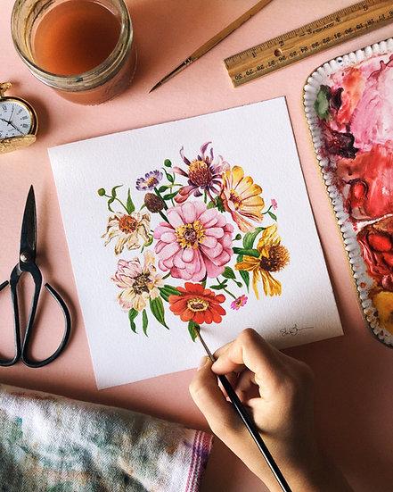 Zinnia Florals Watercolor — Print