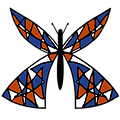 Hand-drawn Butterfly with blue, white, and orange wings.