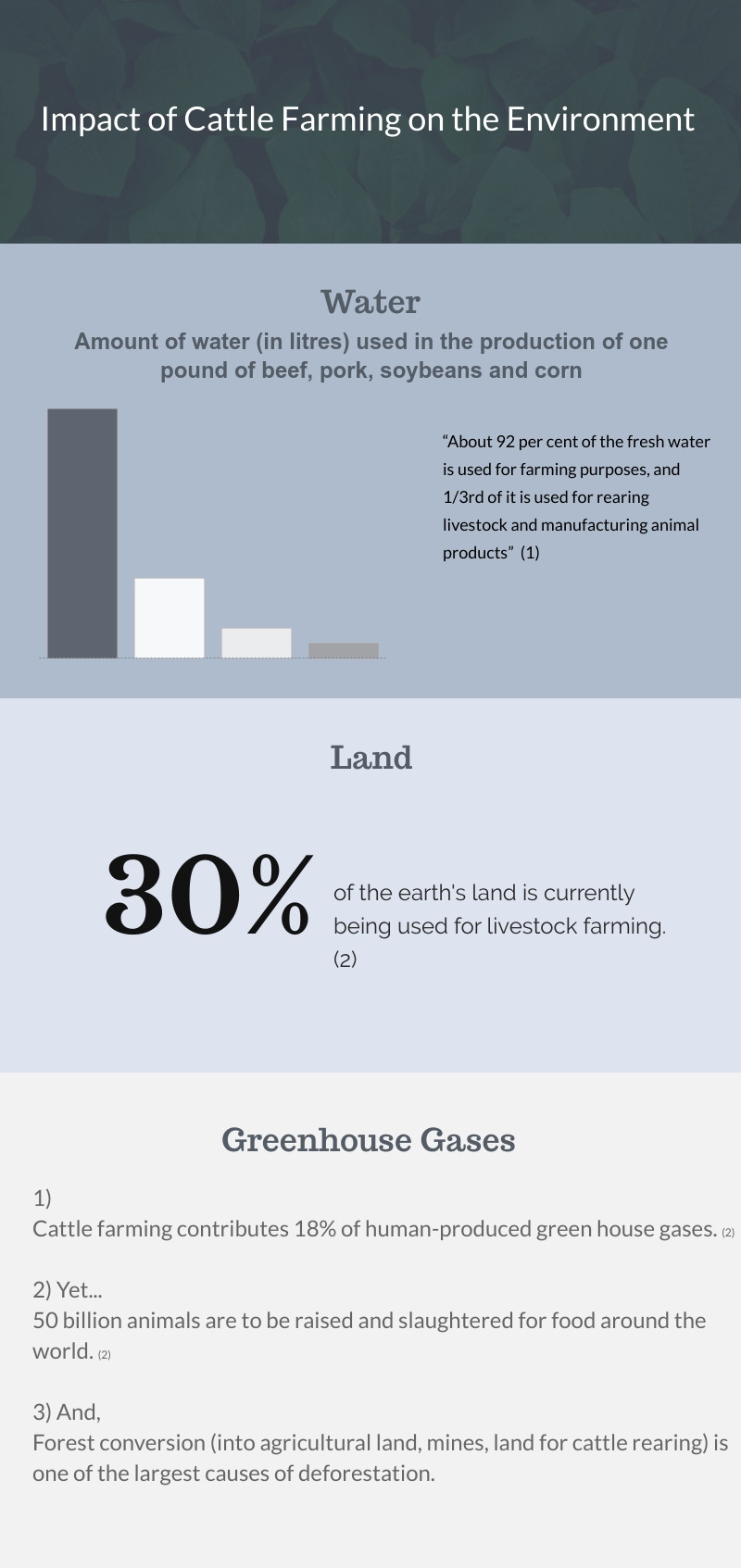 Statistics on the impact of cattle farming on th environment