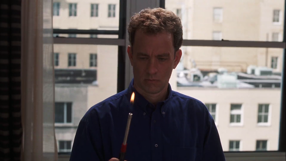 Cast Away Tom Hanks Chuck Noland sees the lighter after he comes back