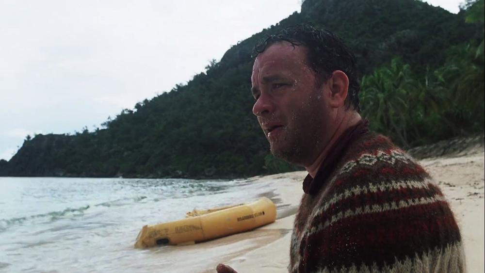 Cast Away Tom Hanks Chuck Noland sees the island