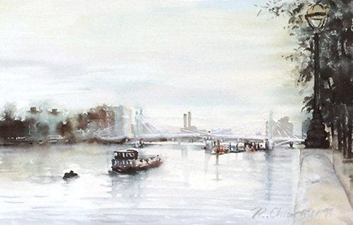 Albert Bridge from Chelsea Embankment