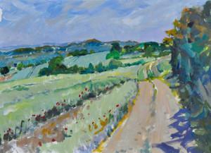 Road to Sundial Barn, Summer Morning, towards the Malverns