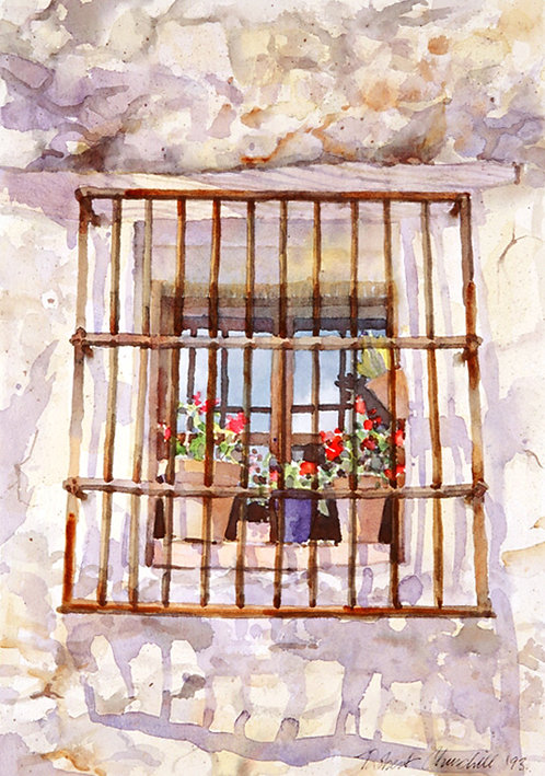 Spanish Window with Grill and Geraniums