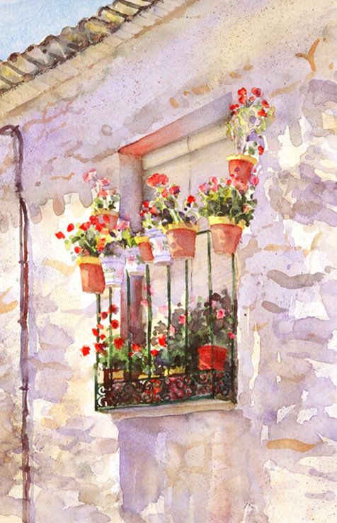 Spanish Balcony with Geraniums