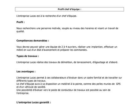 OFFRE D'EMPLOI | CHEF D'ÉQUIPE