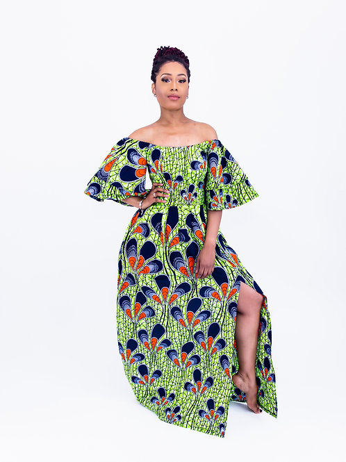 AfroTrend Green Peacock Maxi Dress With Front Slit