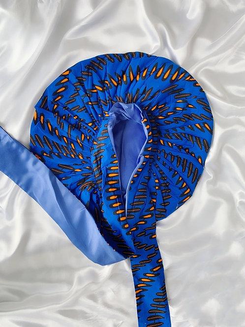 Eastern Blue Satin Tie Bonnet