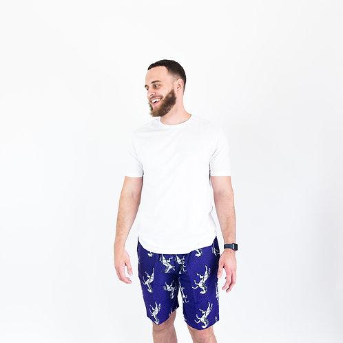 AfroTrend men's Ankara white horse pattern shorts